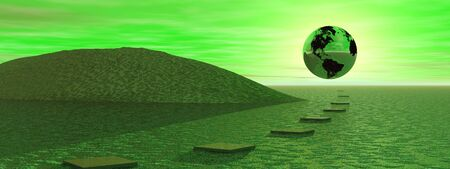 Steps to the earth which is in front of the sun in a green background photo