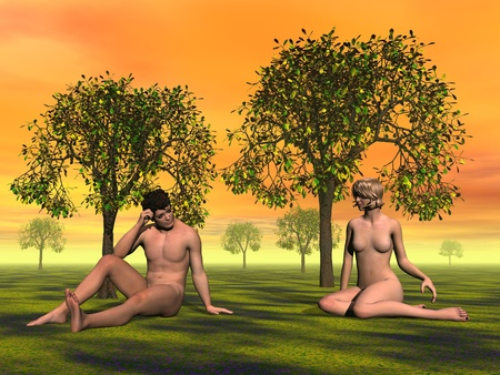 3d nude: Naked Adam and Eve sitting on the grass in Eden garden by orange sunset