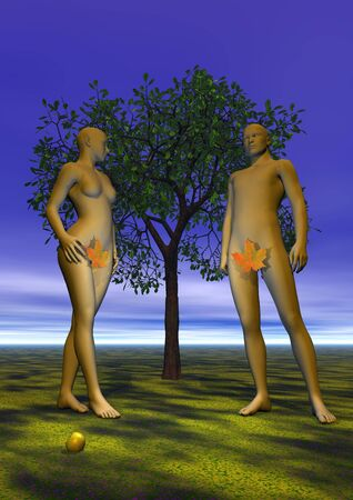 3d nude: Naked Adam and Eve with a leaf in front of a tree, an apple near their feet, in eden garden by night