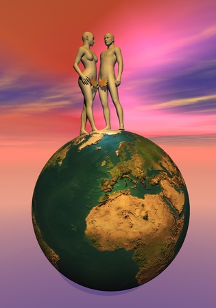 3d nude: Naked Adam and Eve with leaf upon the earth Stock Photo