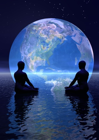 Two human silouhettes meditating in front of the earth by night Standard-Bild