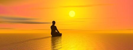 美しい日没で、太陽の前に、海に、瞑想の男