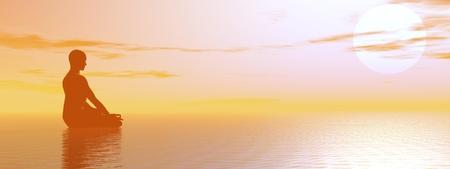 Man meditating upon the ocean by beautiful hazy sunset Standard-Bild