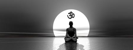 Man meditating under om symbol upon the ocean with full moon behind by beautiful moonlight