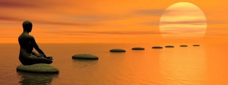 Man meditating on first step on the ocean by beautiful sunset Standard-Bild