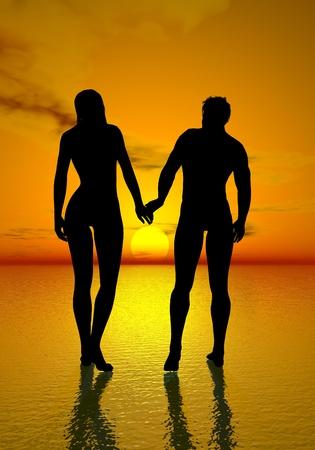 Lovers couple walking upon the ocean toward beautiful sunset photo