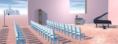 Surrealistic concert room with a piano, chairs, fire place and clock photo