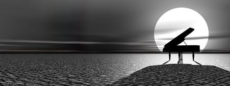 美しい月明かりの下で、自然の中で一人で立ってピアノ 写真素材