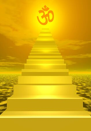 aum: Stairs going togolden on in front of the sun Stock Photo