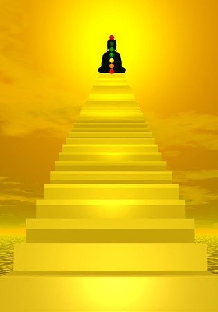 3d om: Stairs going to the shadow of a meditating human with chakras colors Stock Photo
