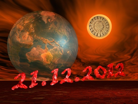 mayan prophecy: Maya prophecy on the sun next to the earth and the end of the world date in a firing red background Stock Photo