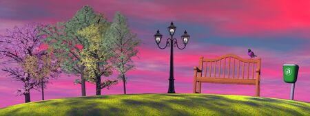 Colorful bird on a wood bench in a park with bin, lamp and trees by sunset Stock Photo - 12883040