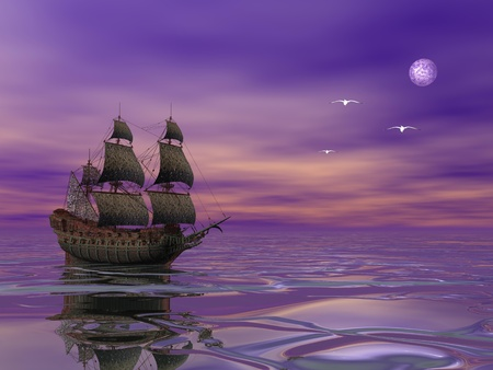 3d sail boat: Flying Dutchman, pirate ship sailing in the moonlight next to bird in violet byckground Stock Photo