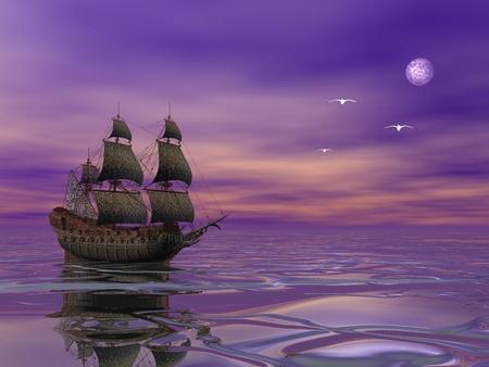 Flying Dutchman, pirate ship sailing in the moonlight next to bird in violet byckground Standard-Bild