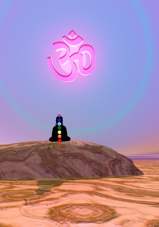 Shadow in meditation with chakras under aum symbol by violet sunset Stock Photo
