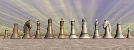 Complete set of brown and white chess pieces in grey background photo