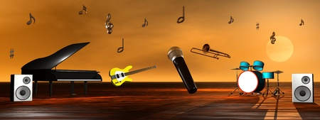Gran piano, guitar, bass, drums, microphone and notes as a musical background Stock Photo