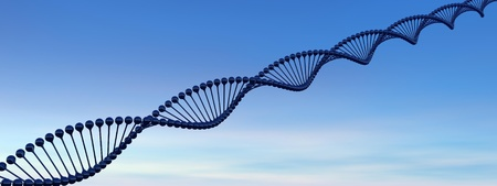 DNA chain in blue background photo