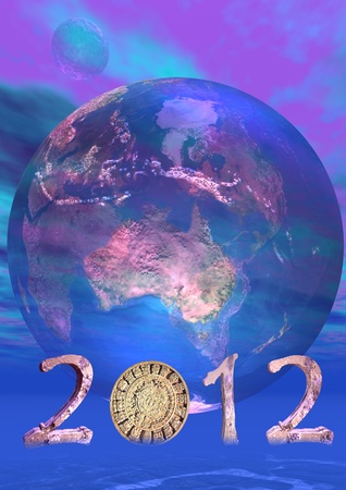 Aztec calendar instead zero in 2012 in front of a transparent blue earth Stock Photo - 13115579