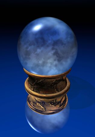 Blue crystal ball upon golden base in black and blue background photo