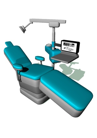 decayed: One modern dental chair in white background