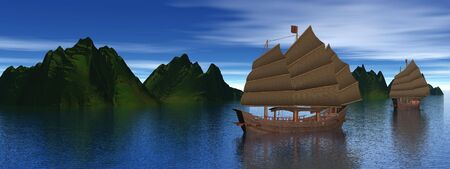 Two oriental junk boats on water next to mountains by dawn photo