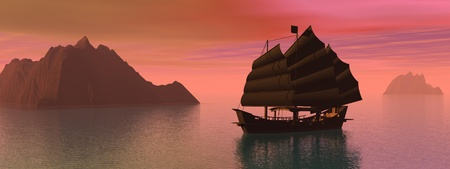junk boat: Silouhette of oriental junk boat on water next to mountains by sunset Stock Photo