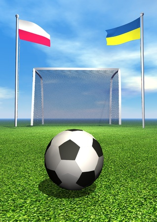 tourney: Polish and ukrainian flags, soccer ball, goal on green playground field
