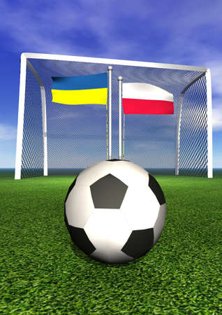 Polish and ukrainian flags, soccer ball, goal on green playground field photo