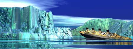 Titanic boat among next to big icebergs sinking in cold northern ocean water photo