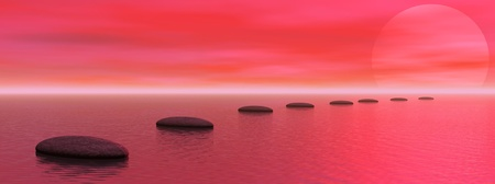 Grey stones steps upon the ocean going to the sun by red sunset Stock Photo - 13115535