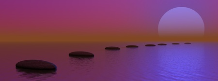 Grey stones steps upon the ocean going to the moon by violet monnlight Stock Photo - 13115531
