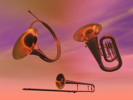 Brass band instruments in pink background photo