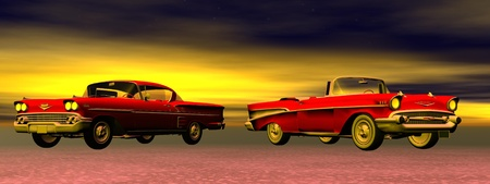Two red old cars from 60s in colorful background