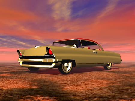 Old car from 60s in colorful background