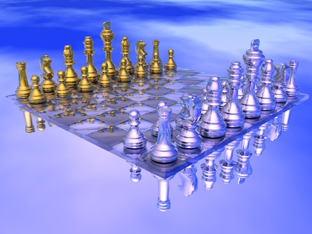 chess set: Chessboard with golden and silver figures in blue background Stock Photo