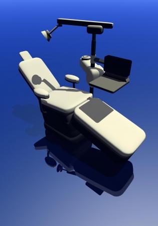 dientes con caries: Una silla moderna dental en fondo azul Foto de archivo