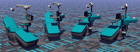 Modern dental chairs in colorful background Stock Photo - 13323248