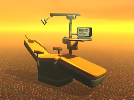 One modern dental chair in orange background photo