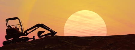 Silhouette of an excavator beside a setting sun photo
