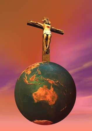 Jesus Christ on the cross upon the earth in colorful background photo