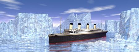 Titanic boat among big icebergs in cold northern ocean water photo