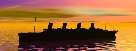 titanic: Shadow of Titanic boat on the ocean by sunset Stock Photo