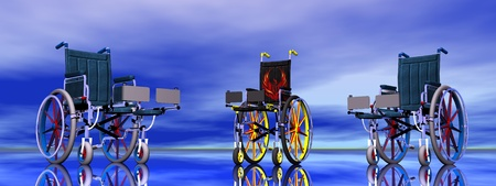 Three wheel chairs in blue background Stock Photo - 13323237