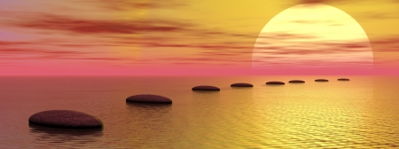 Grey stones steps upon the ocean going to the sun by cloudy sunset Standard-Bild