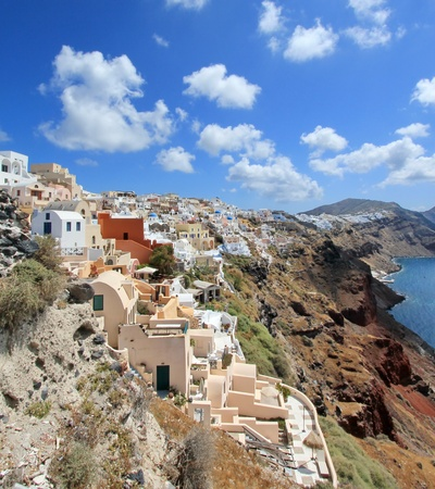 View on the caldera at Oia, Santorini, Greece, by beautiful weather photo
