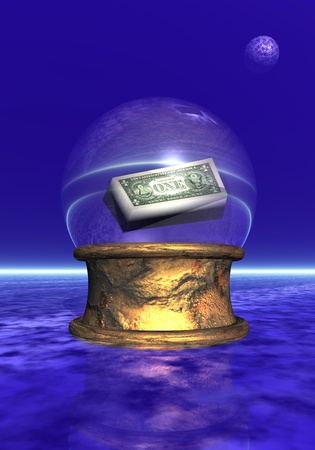 psychic: Amercian banBlue crystal ball upon golden base in black and blue background