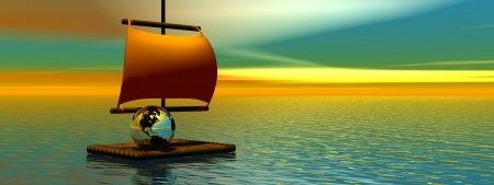 Wooden raft in the middle of the ocean transporting earth to save and protect