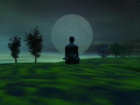 Man meditating upon grass hills next to trees and in front of the moon by green night photo