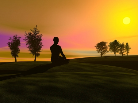 Shadow of a man meditating in the nature, on the grass next to trees by sunset photo